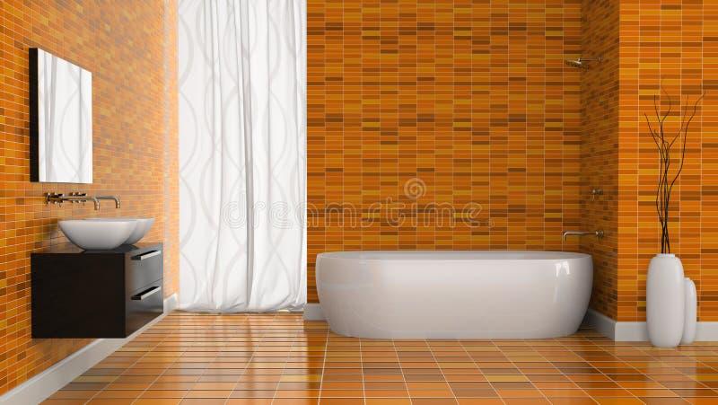 Modernes Badezimmer Mit Orange Wand Stock Abbildung ...