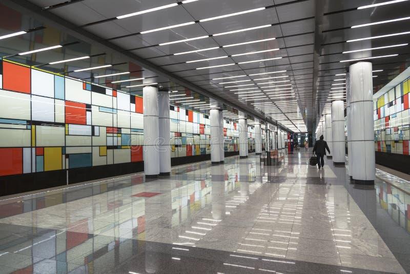 Innenraum des Moskau-Metrostation ` Rumyantsevo-`, Moskau lizenzfreies stockbild