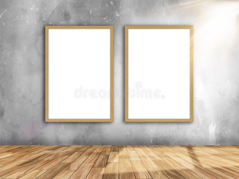 Innenraum des Raumes 3D mit leeren Bilderrahmen auf der Wand mit dem Licht, das vom Recht glänzt stock abbildung
