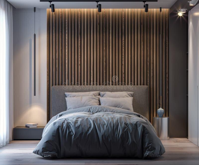 Innenraum des Schlafzimmers in der modernen Art, Wiedergabe 3D lizenzfreie stockfotografie