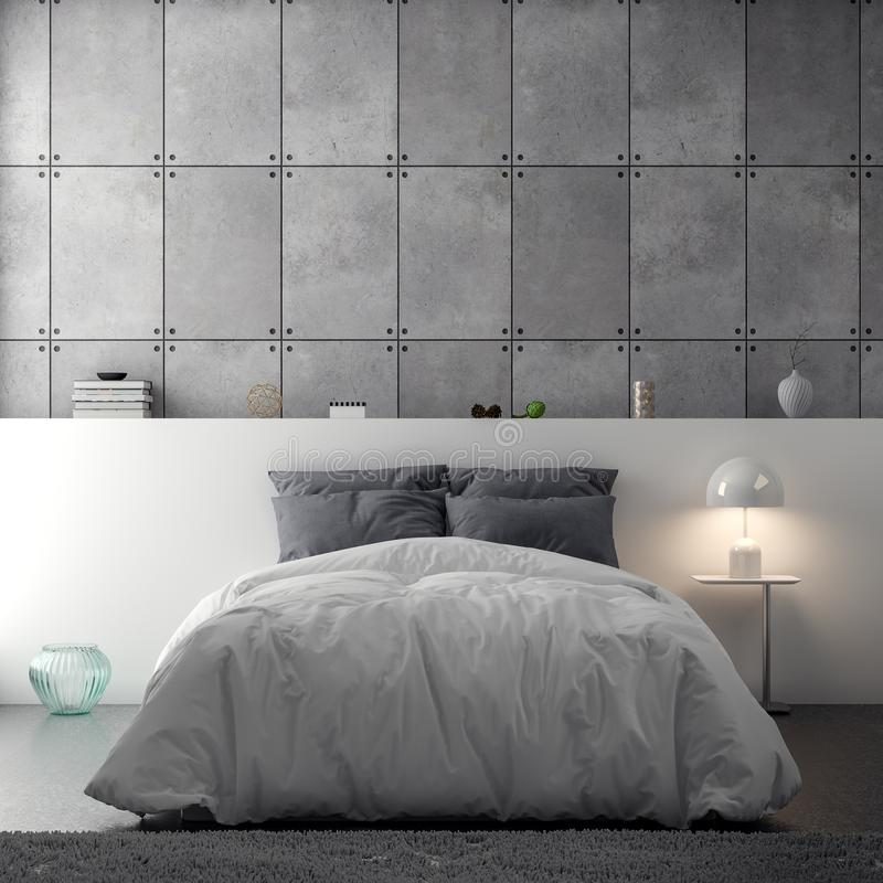 Innenraum des Schlafzimmers mit Betonmauer, Wiedergabe 3D lizenzfreie abbildung
