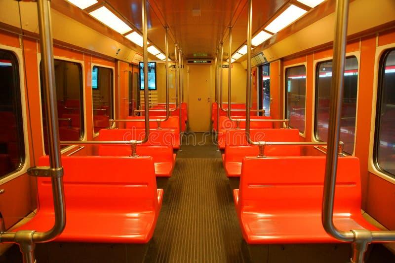 Innenraum des U-Bahnautos in Helsinki stockfoto