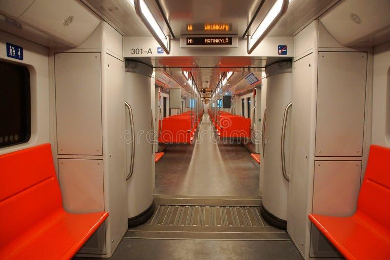 Innenraum des U-Bahnautos in Helsinki stockbilder