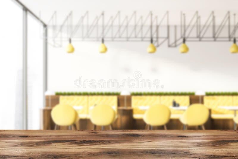 Innenraum des weißen Cafés mit gelber Sofaunschärfe vektor abbildung
