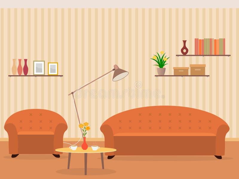 Innenraum des Wohnzimmerdesigns in der flachen Art mit Möbeln, Lehnsessel, Sofa, Lampe, Bücherregal und Blumen auf einer Tabelle stockbild