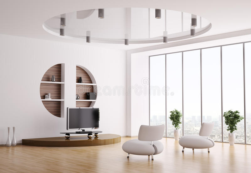 Innenraum des Wohnzimmers 3d lizenzfreie abbildung