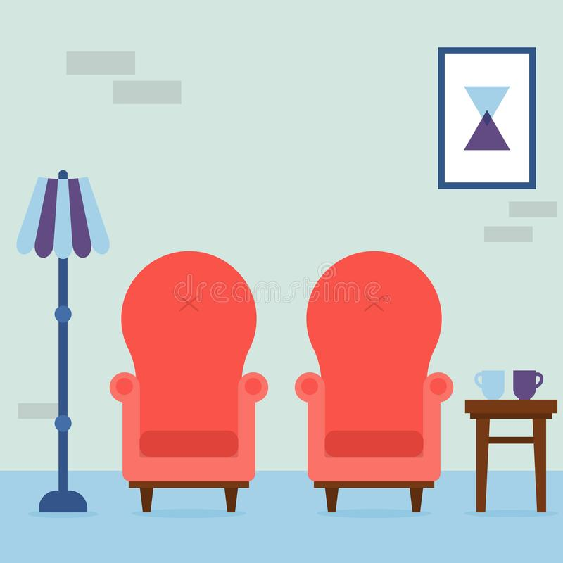 Innenraum des Wohnzimmers Gemütliche rote Lehnsessel der Weinlese, abstraktes Bild, Lampe und Stuhl mit Schalen im Raum Innenelem stock abbildung