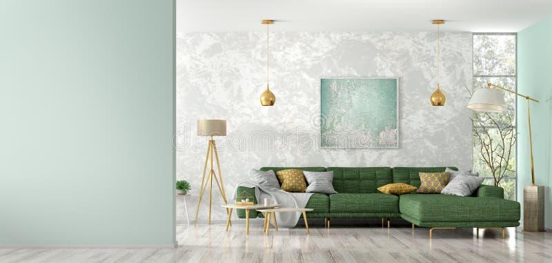 Innenraum des Wohnzimmers mit grüner Wiedergabe des Sofas 3d vektor abbildung
