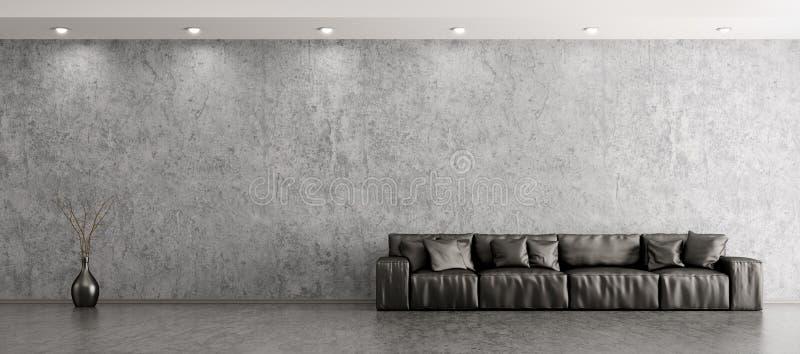 Innenraum des Wohnzimmers mit Wiedergabe des Sofapanoramas 3d stock abbildung
