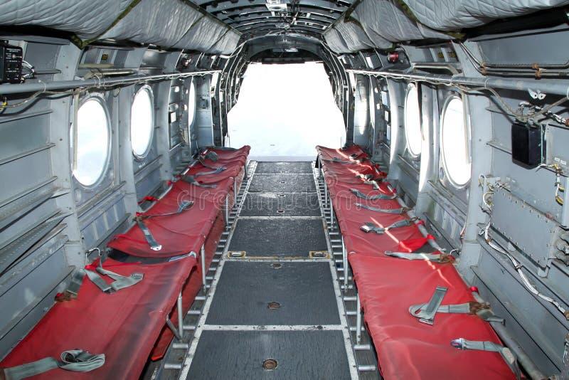 Innenraum ein Chinook-Hubschrauber lizenzfreies stockfoto