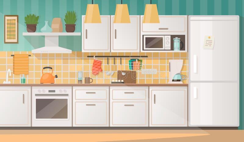 Innenraum einer gemütlichen Küche mit Möbeln und Geräten Vektor lizenzfreie abbildung