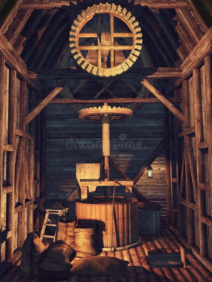 Innenraum einer hölzernen Mühle lizenzfreie abbildung