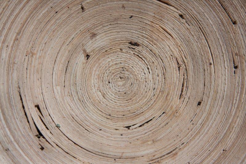 Innenraum einer hölzernen Schüssel mit einem hypnotisierenden gewundenen Muster lizenzfreies stockbild