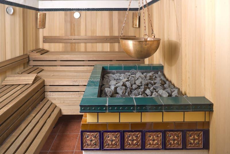 Innenraum einer Sauna stockfoto
