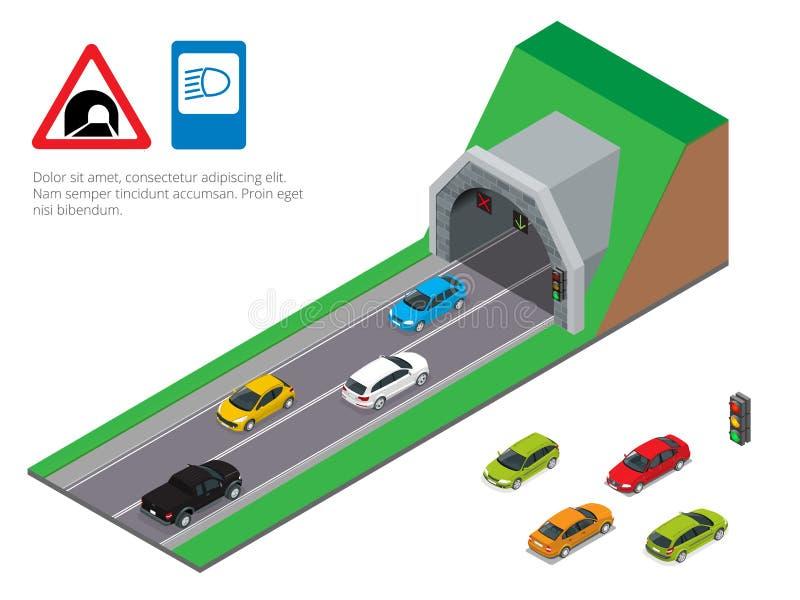 Innenraum einer städtischen Gehwegtunnelstraße Tunnelautofahren Isometrische Tunnelstraße lizenzfreie abbildung
