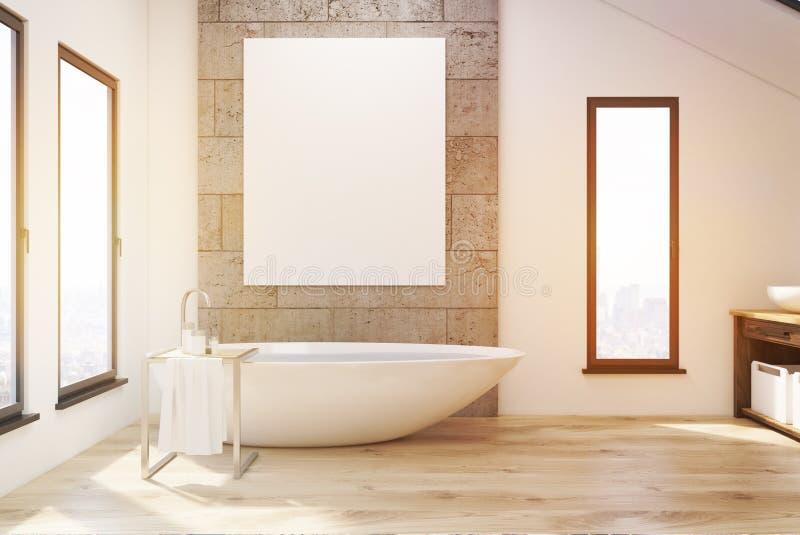 Innenraum eines Badezimmers mit schmalen Fenstern, hölzernen Wannen-, konkreten und weißenwänden lizenzfreie abbildung