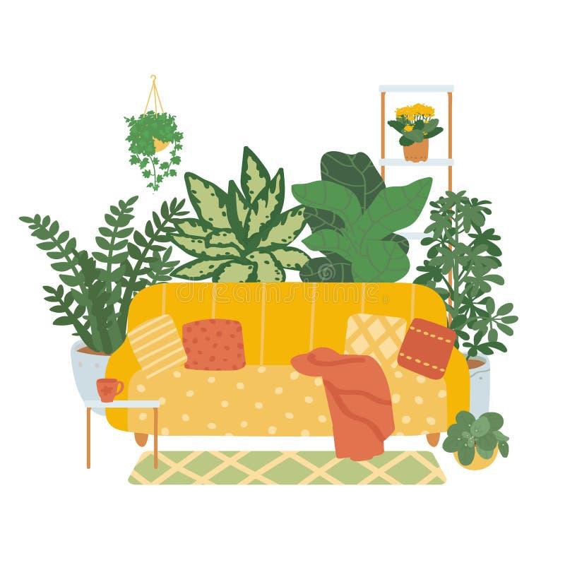 Innenraum eines gem?tlichen Wohnzimmers lokalisiert auf wei?em Hintergrund Tendenz décor von Zimmerpflanzen Vektorillustration i stock abbildung