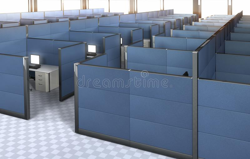 Innenraum eines leeren Büros mit Zellen stock abbildung