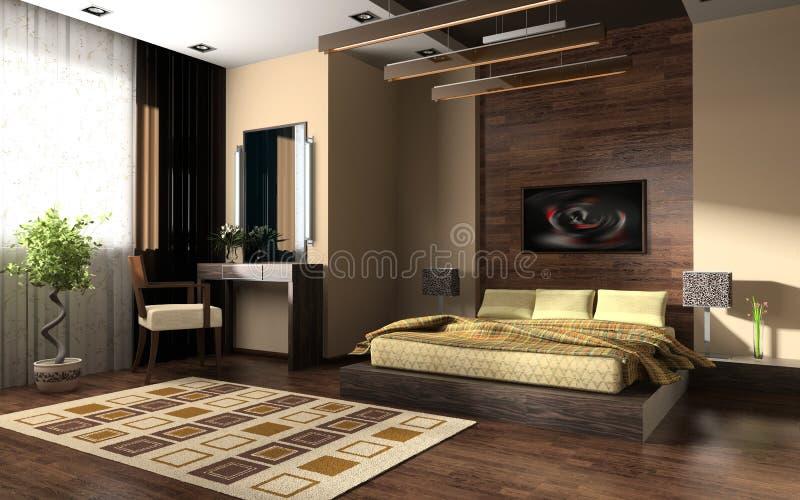 Innenraum eines Schlafzimmers lizenzfreie abbildung