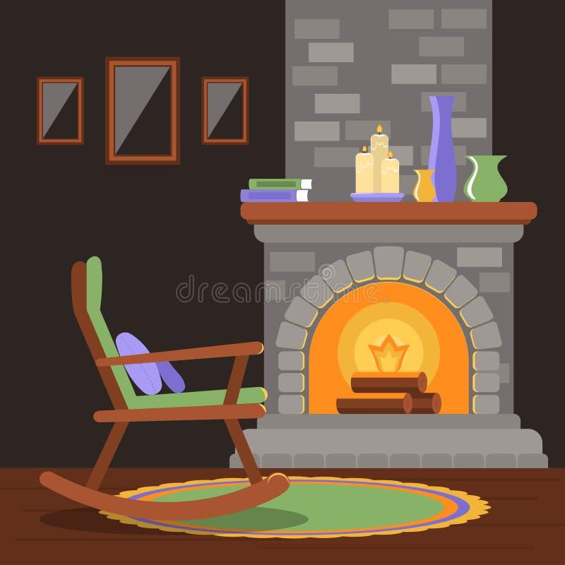 Innenraum eines Wohnzimmers mit einem Kamin und einem Schaukelstuhl stockbild