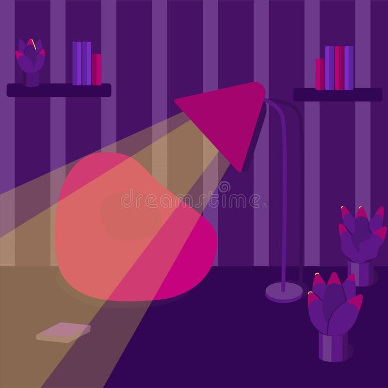 Innenraum eines Wohnzimmers Moderne flache Designillustration lizenzfreie abbildung