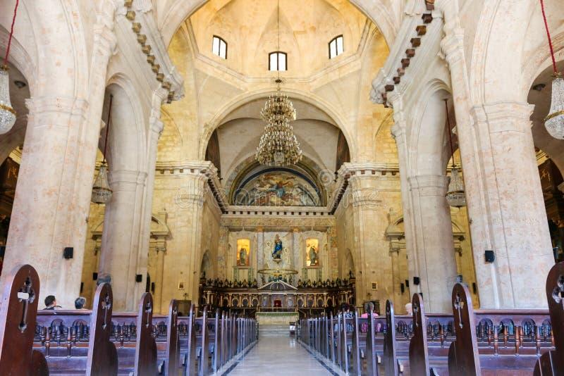 Innenraum Havana Cathedrals, Kuba, Havana lizenzfreies stockfoto