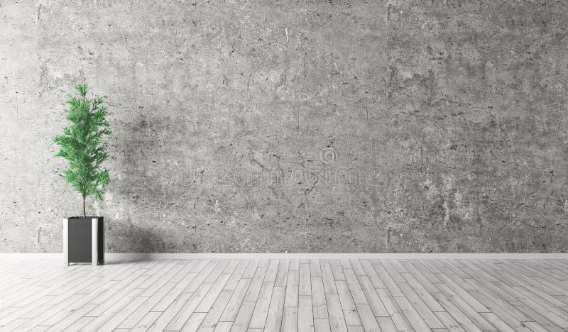 Innenraum mit Betonmauer- und Bretterboden3d Wiedergabe stock abbildung