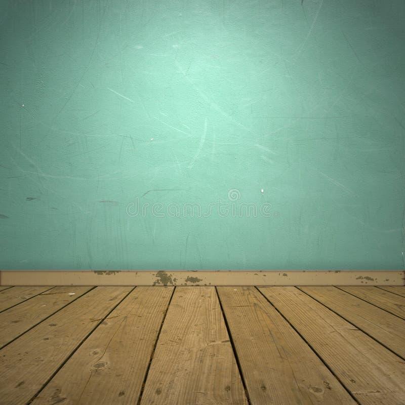 Innenraum mit blauer Wand und hölzernem Fußboden. stockfotos
