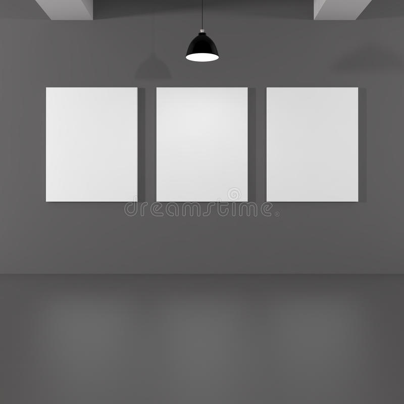 Innenraum mit Lampe und leeren Bild-Gemälderahmen stock abbildung