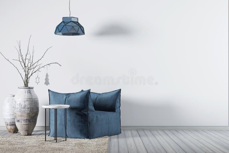 Innenraum mit leerer Wand des Hintergrundes und blauem Lehnsessel mit weniger Tabelle und Lampe vektor abbildung