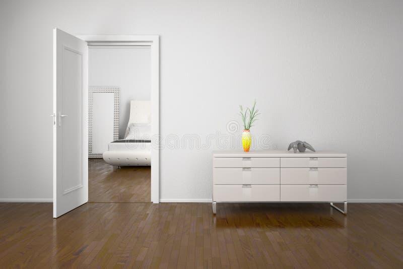 Innenraum mit offener Tür stock abbildung