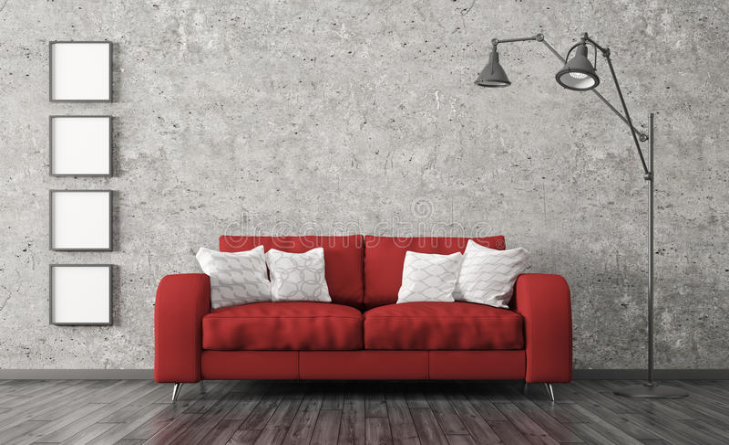 Innenraum mit rotem Sofa gegen Betonmauer 3d überträgt lizenzfreie abbildung