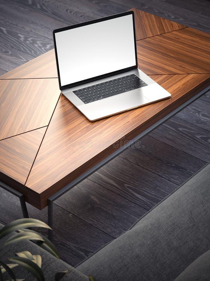 Innenraum mit Sofa, coffe Tabelle und Laptop Wiedergabe 3d stockfotografie