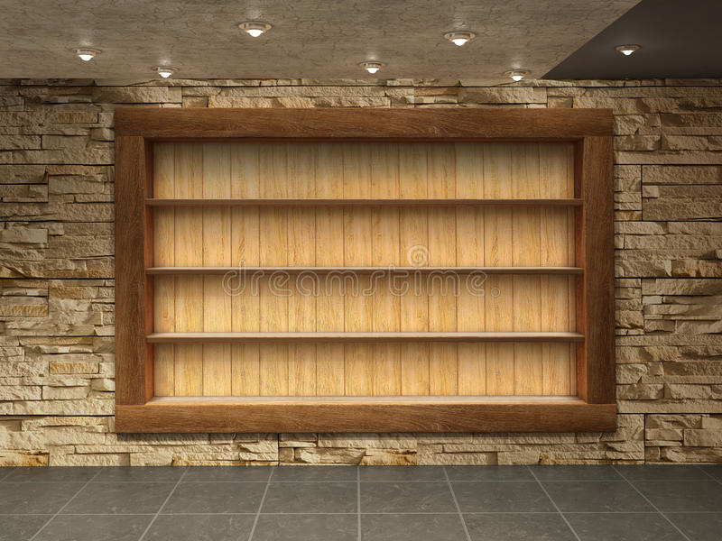 Innenraum mit Steinwand, lizenzfreie stockbilder