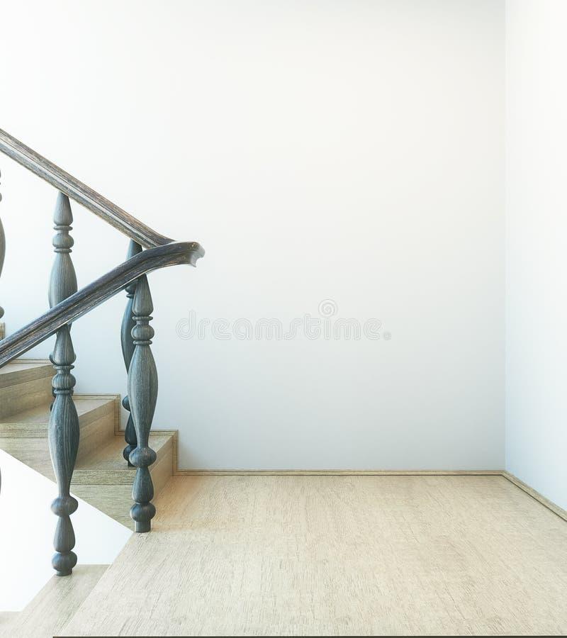 Innenraum mit Treppe und leerer Wand vektor abbildung