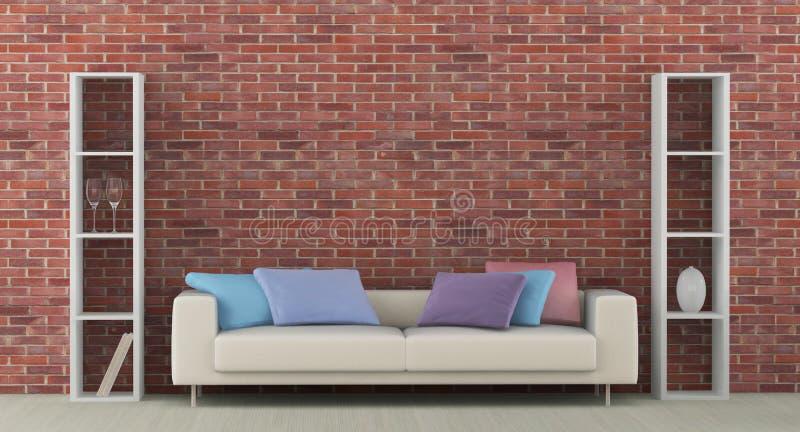 Innenraum mit weißem Sofa lizenzfreie abbildung