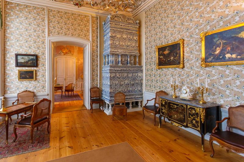 Innenraum und Details von Rundale-Palast, Lettland stockfoto