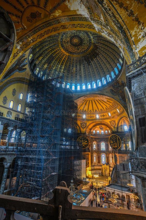 Innenraum von Hagia Sophia in Istanbul, die T?rkei lizenzfreies stockfoto