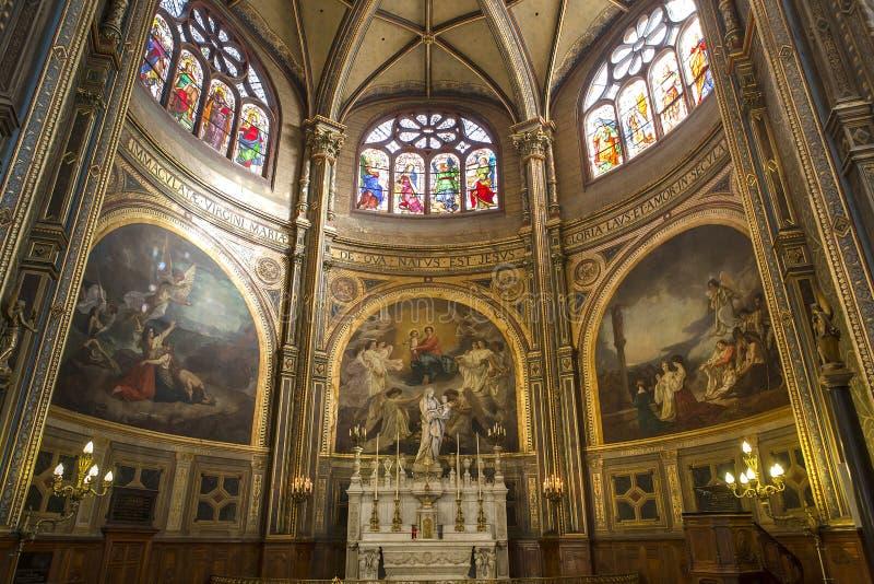 Innenraum von Heiliges Eustache-Kirche, Paris, Frankreich stockfotografie