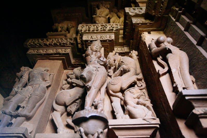 Innenraum von hindischen und Jain Tempeln in Khajuraho Madhya Pradesh, lizenzfreies stockbild
