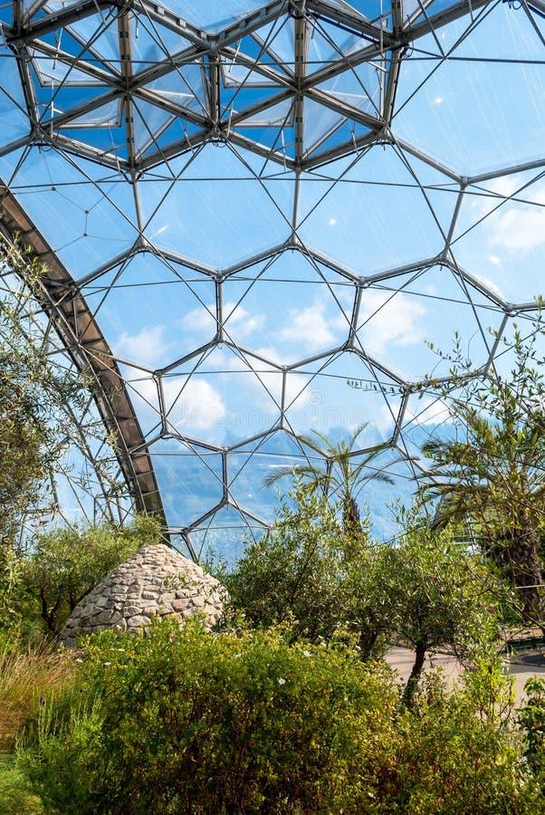 Innenraum von Mittelmeerbiome, Eden Project, vertikal stockbild