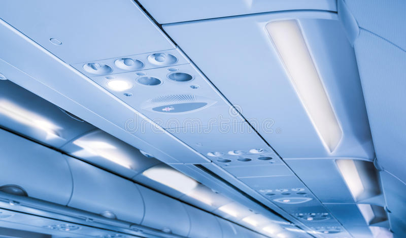Innenraum von modernen Flugzeugen lizenzfreie stockfotografie
