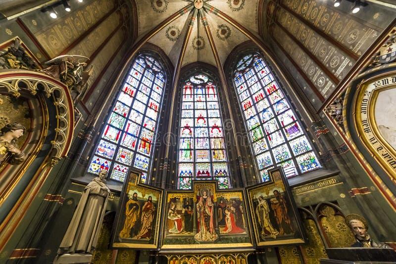 Innenraum von Notre- Damed'anvers Kathedrale, Anvers, Belgien stockbilder