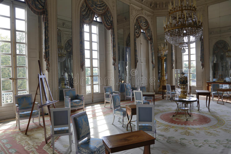 Innenraum von Petit Trianon Versailles, Frankreich Durch Ange-Jacques Gabriel für Louis XV errichtet, 1762 - geschossenes im Augu lizenzfreie stockfotos
