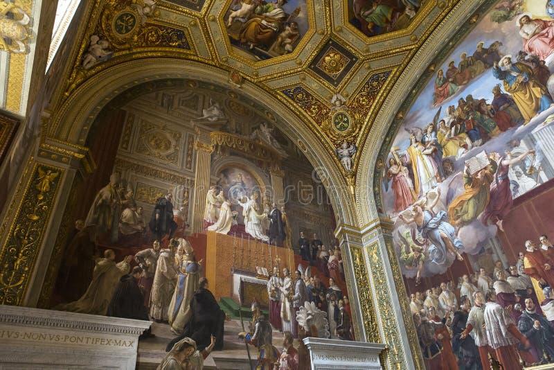 Innenraum von RAPHAEL-Räumen, Vatikan-Museum, Vatikan lizenzfreies stockbild