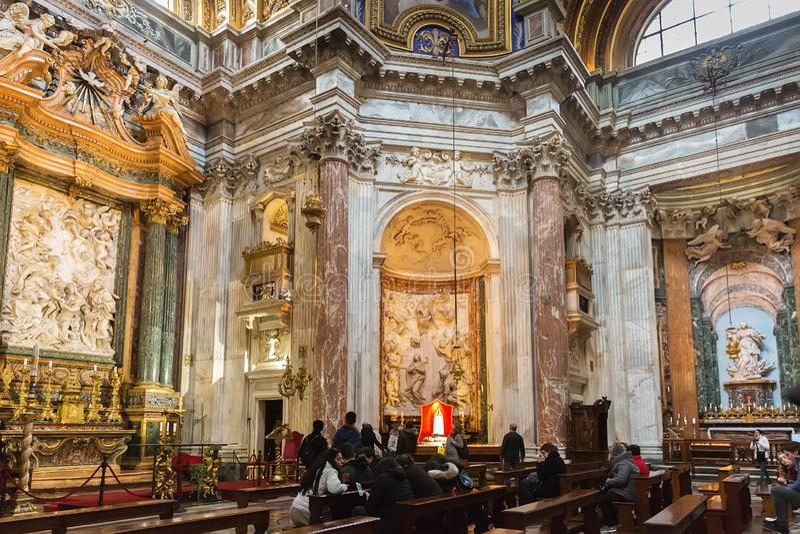 Innenraum von Sant Agnese in Agone in Rom, Italien stockfoto
