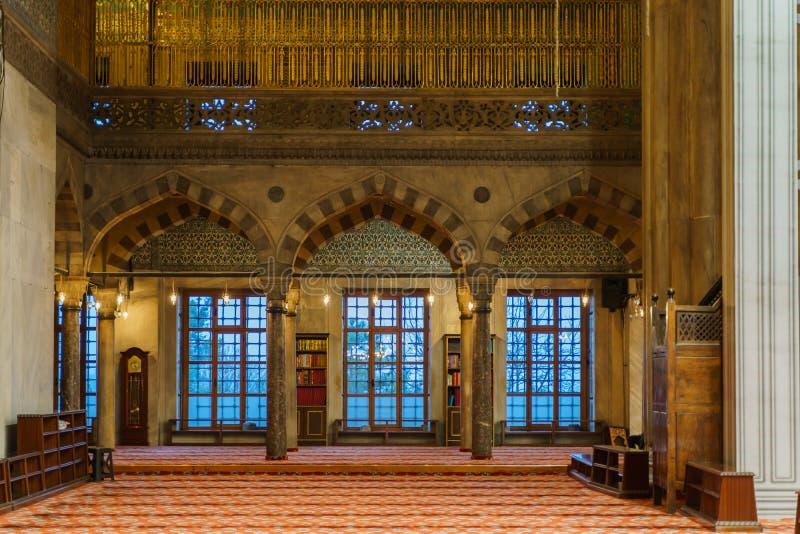 Innenraum von Sultan Ahmed Mosque stockbilder