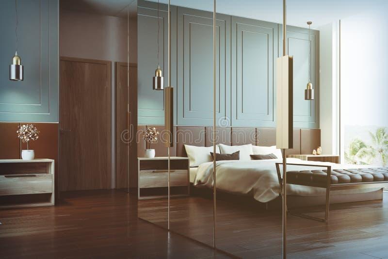 Innenreflexion des blauen Schlafzimmers getont vektor abbildung