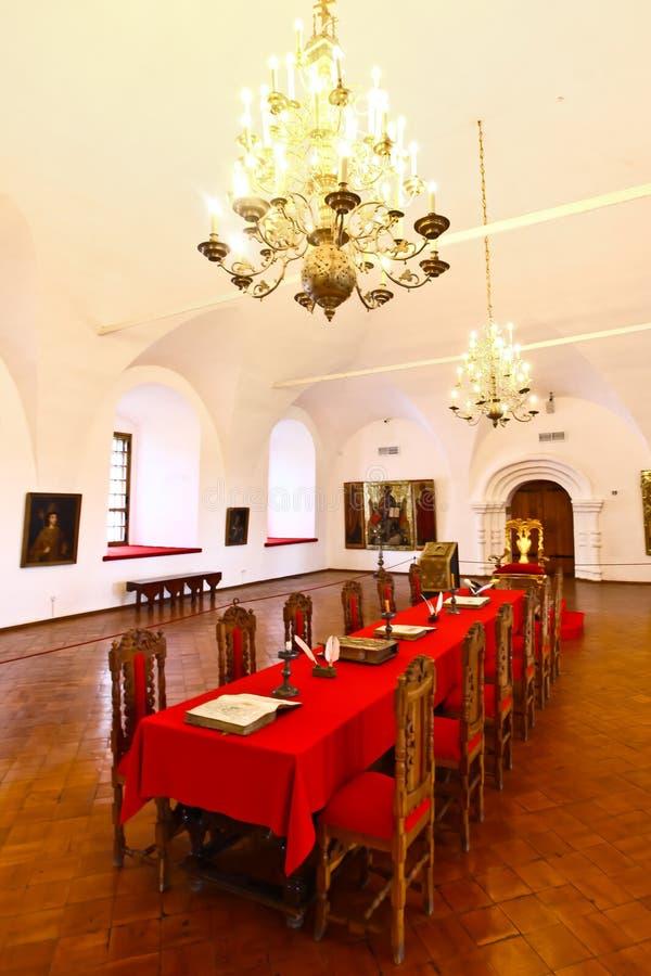 Innenthronraum für das Abhalten von Sitzungen des 17. Jahrhunderts stockfotografie