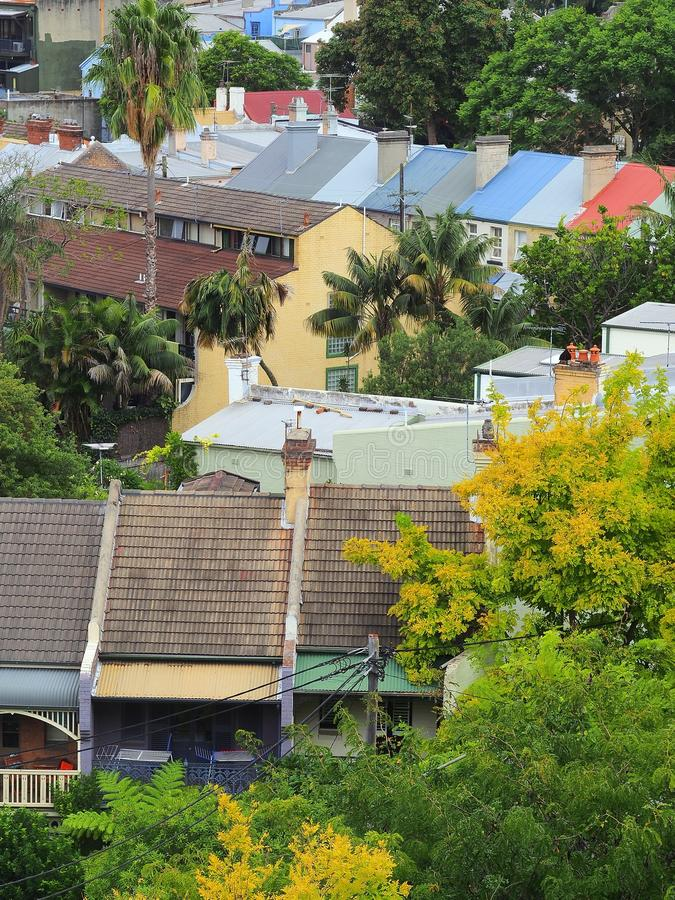 Inner City Terrace Houses. Inner city terrace, attached, row, houses, tiled roofs royalty free stock image